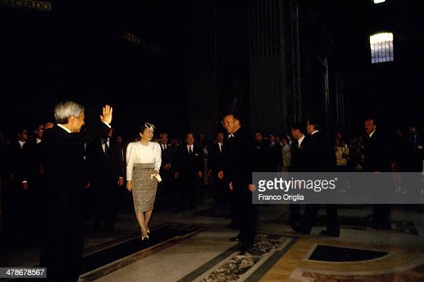 Emperor Akihito and Empress Michiko of Japan visit St Peter's Basilica on September 8 1993 in Vatican City Vatican