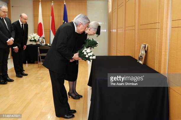Emperor Akihito and Empress Michiko offer condolence for late Grand Duke Jean of Luxembourg at the Luxembourg Embassy on April 25 2019 in Tokyo Japan