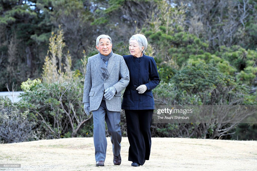 Emperor Akihito and Empress Michiko stroll near the Hayama Imperial Villa on January 31, 2017 in Hayama, Kanagawa, Japan.