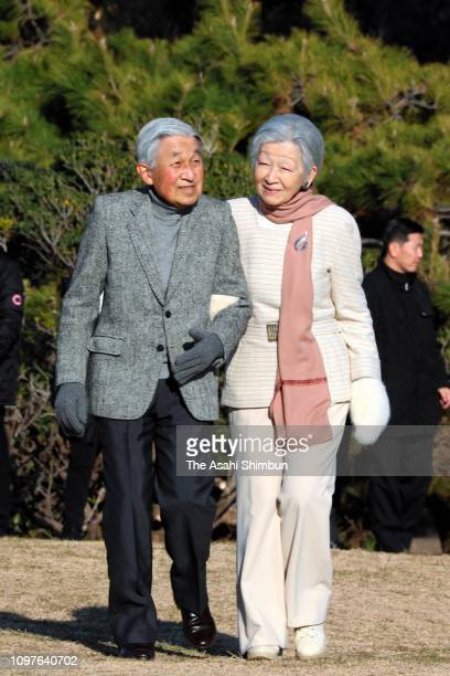 Emperor Akihito and Empress Michiko stroll outside the Hayama Imperial Villa on January 21, 2019 in Hayama, Kanagawa, Japan.