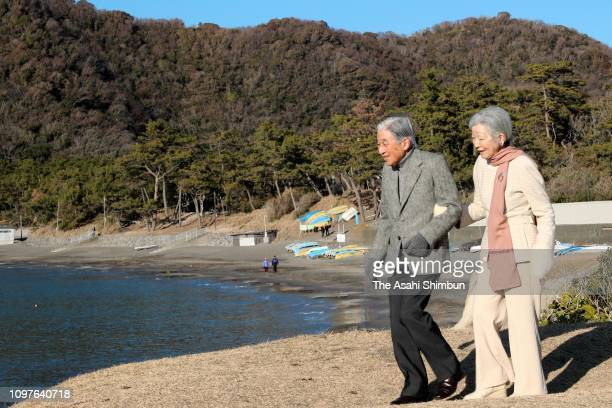 Emperor Akihito and Empress Michiko stroll outside the Hayama Imperial Villa on January 21, 2019 in Hayama, Kanagawa, Japan.