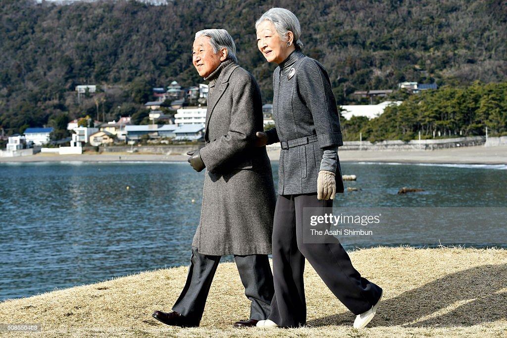Emperor And Empress Visit Hayama Imperial Villa