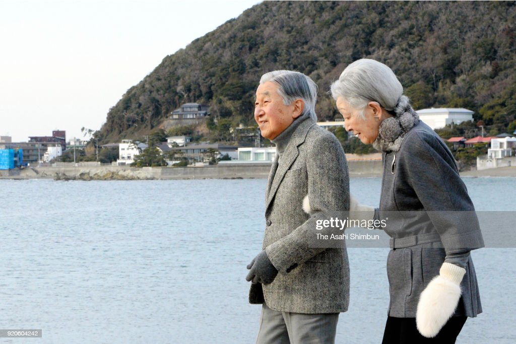Emperor And Empress Visit Hayama Imperial Villa
