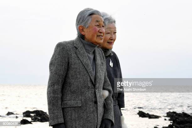 Emperor Akihito and Empress Michiko stroll outside the Hayama Imperial Villa on February 19 2018 in Hayama Kanagawa Japan