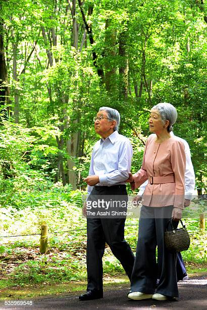 Emperor Akihito and Empress Michiko stroll the forest of the Koganei Parkon May 31 2016 in Koganei Tokyo Japan