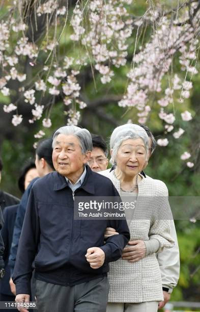 Emperor Akihito and Empress Michiko take a brief stroll outside the Imperial Palace on April 7 2019 in Tokyo Japan