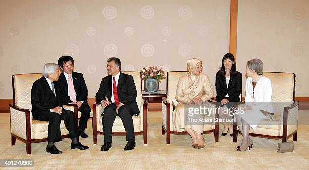 Emperor Akihito and Empress Michiko taks with Turkish President Abdullah Gul and his wife Hayrunnisa Gul during their meeting at the Imperial Palace...
