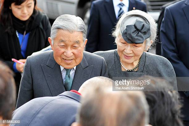 Emperor Akihito and Empress Michiko talk to evacuees from Katsurao village designated as nogo zone of the crippled Fukushima Daiichi Nuclear Power...