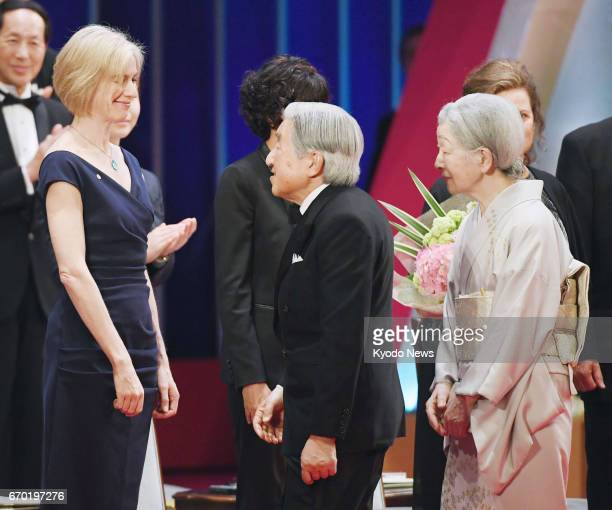 Emperor Akihito and Empress Michiko talk to Jennifer Doudna professor at the University of California Berkeley who received the Japan Prize for...