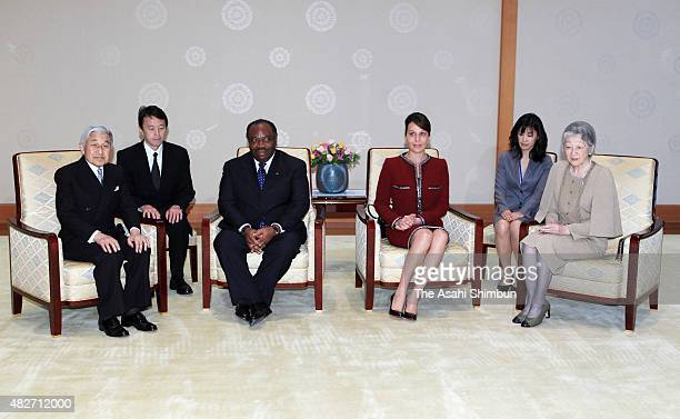 Emperor Akihito and Empress Michiko talk with Gabon President Ali Bongo Ondimba and his wife Sylvia Valentin during their meeting at the Imperial...