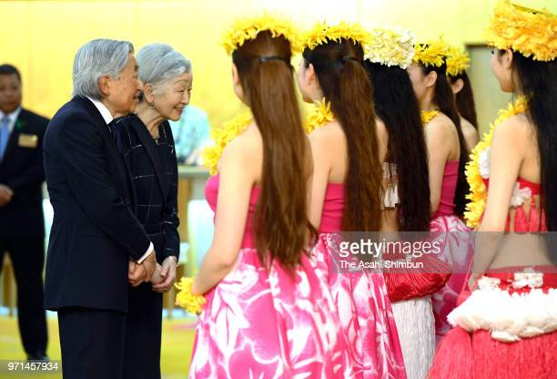 Emperor Akihito and Empress Michiko are seen on departure for Fukushima at JR Tokyo Station on June 9 2018 in Tokyo Japan This 3day trip could be the...