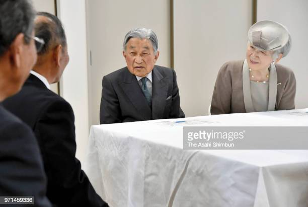 Emperor Akihito and Empress Michiko talk with residents of the restoration apartment on June 9 2018 in Iwaki Fukushima Japan This 3day trip could be...