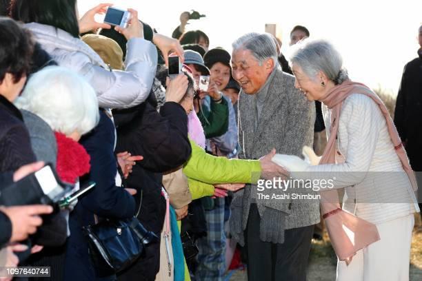 Emperor Akihito and Empress Michiko talk with well-wishers outside the Hayama Imperial Villa on January 21, 2019 in Hayama, Kanagawa, Japan.