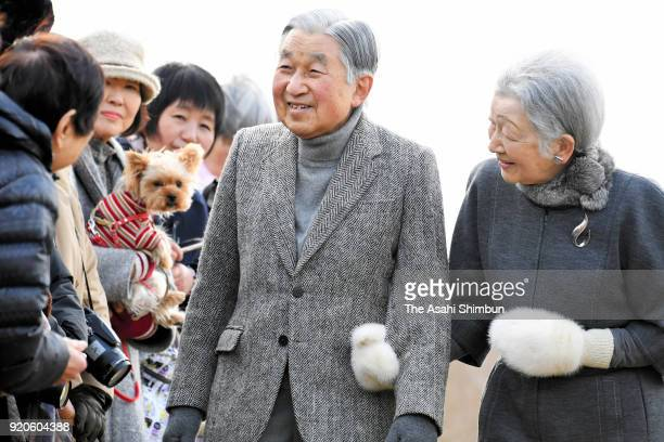 Emperor Akihito and Empress Michiko talk with wellwishers outside the Hayama Imperial Villa on February 19 2018 in Hayama Kanagawa Japan