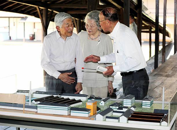 Emperor Akihito and Empress Michiko visit former silk factory Tokidakan on August 23, 2016 in Ueda, Nagano, Japan.