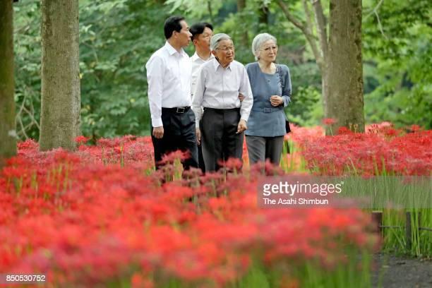 Emperor Akihito and Empress Michiko visit Kinchakuda Manjushage Park on September 20 2017 in Hidaka Saitama Japan