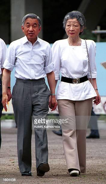 Emperor Akihito and Empress Michiko visit Niijima Island July 26 2001 in the Izu island chain south of Tokyo They traveled to meet islanders who have...