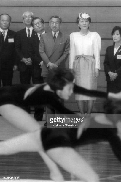 Emperor Akihito and Empress Michiko visit Saga Prefecture Gymnasium on May 12 1992 in Saga Japan