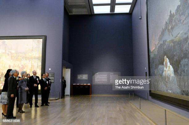 Emperor Akihito and Empress Michiko visit the Alfons Mucha exhibition at the National Art Center Tokyo on May 25 2017 in Tokyo Japan