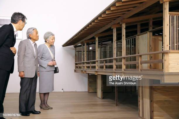 Emperor Akihito and Empress Michiko visit the Japan in Architecture Genealogies of Its Transformation at Mori Art Museum on September 4 2018 in Tokyo...