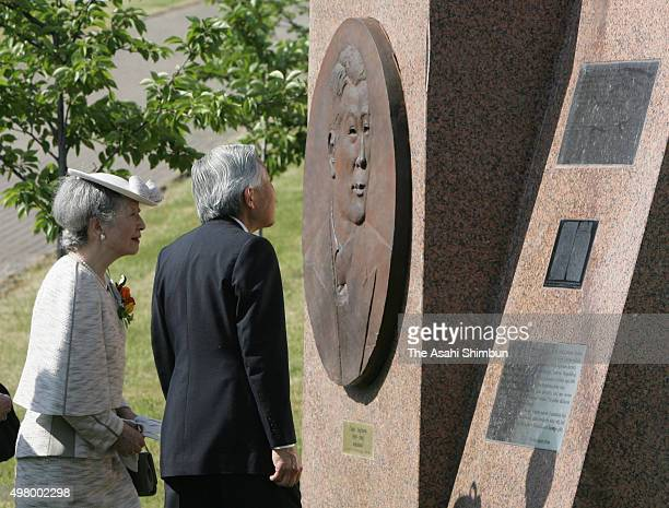 Emperor Akihito and Empress Michiko visit the memorial of Japanese diplomat Chiune Sugihara on May 26 2007 in Vilnius Lithuania
