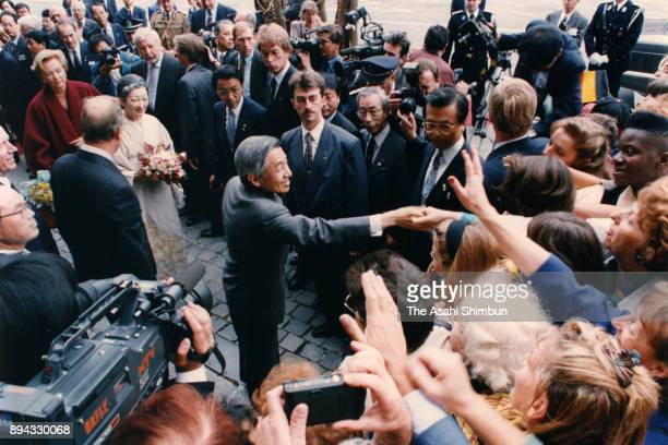 Emperor Akihito and Empress Michiko visit the Mons City Hall on September 10 1993 in Mons Belgium