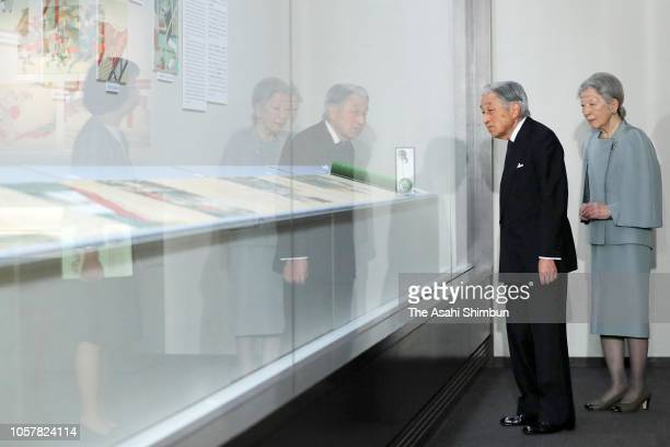 Emperor Akihito and Empress Michiko visit the Museum of the Imperial Collections on October 22 2018 in Tokyo Japan