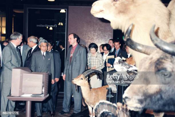 Emperor Akihito and Empress Michiko visit the National Museum of Natural History on October 6 1994 in Paris France