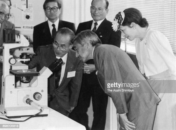 Emperor Akihito and Empress Michiko visit the Saga Prefecture Livestock Experiment Center on May 12 1992 in Yamauchi Saga Japan