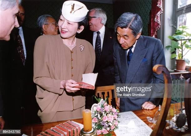Emperor Akihito and Empress Michiko visit the Schiller Museum on September 16 1993 in Weimar Germany