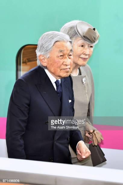 Emperor Akihito and Empress Michiko visit the Soma Harakama Wholesale Market on June 11 2018 in Soma Fukushima Japan This 3day trip could be the...