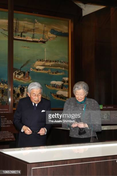 Emperor Akihito and Empress Michiko visit the 'World According To Meiji Japan' exhibition at Meiji Memorial Picture Gallery on November 08, 2018 in...