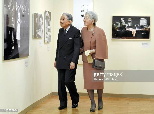 Emperor Akihito and Empress Michiko visit their 60year photo exhibition at the Mitsukoshi Department Store on January 26 2019 in Tokyo Japan