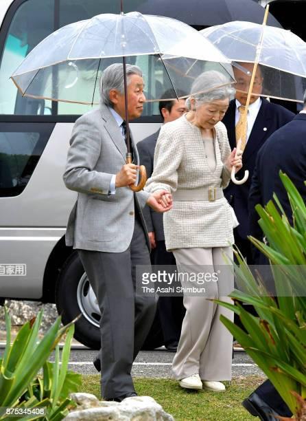 Emperor Akihito and Empress Michiko visit Yurigahama Beach at Yoronjima Island on November 17 2017 in Yoron Kagoshima Japan