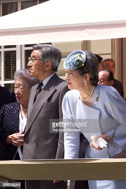 Emperor Akihito and Empress Michiko watch Lake Geneva with UNHCR High Commissioner Sadako Ogata at the official residence of the Permanent...