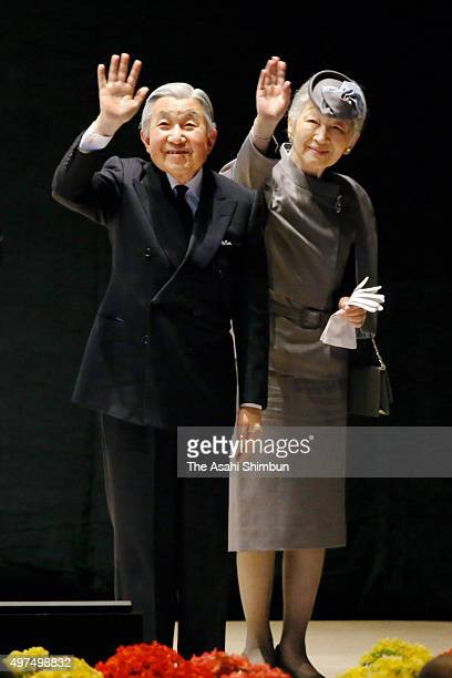 Emperor Akihito and Empress Michiko wave to audience after the Commemorative Ceremony to Celebrate the 50th Anniversary of Japan Overseas Cooperation...