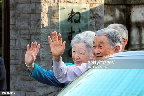 Emperor Akihito and Empress Michiko visit the 'NemunokinoNiwa' garden where the empress' parents home used to stand on June 24 2018 in Tokyo Japan