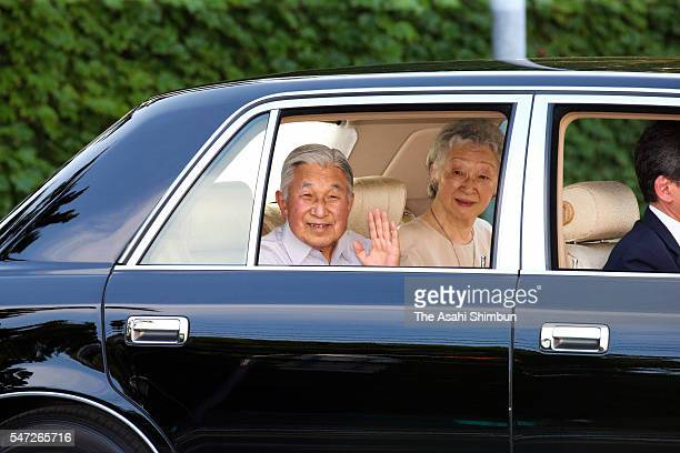 Emperor Akihito and Empress Michiko wave to wellwishers on departure from the Hayama Imperial Villa on July 14 2016 in Hayama Kanagawa Japan The...