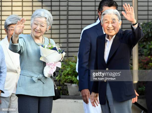 Emperor Akihito and Empress Michiko wave to wellwishers on departure at the Tokyo Lawn Tennis Club on May 5 2018 in Tokyo Japan On the nostalgic...
