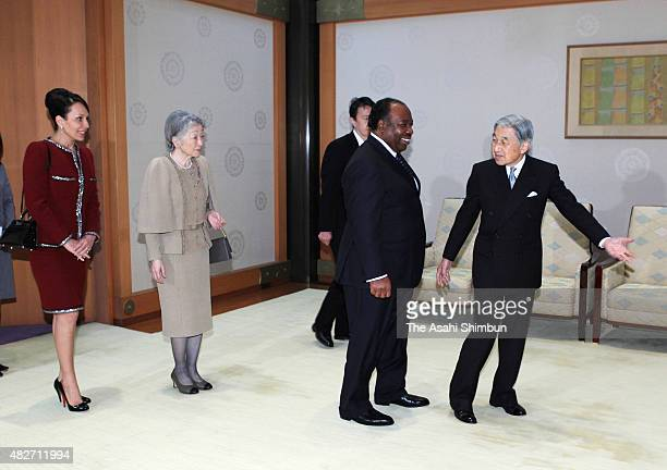 Emperor Akihito and Empress Michiko welcome Gabon President Ali Bongo Ondimba and his wife Sylvia Valentin prior to their meeting at the Imperial...