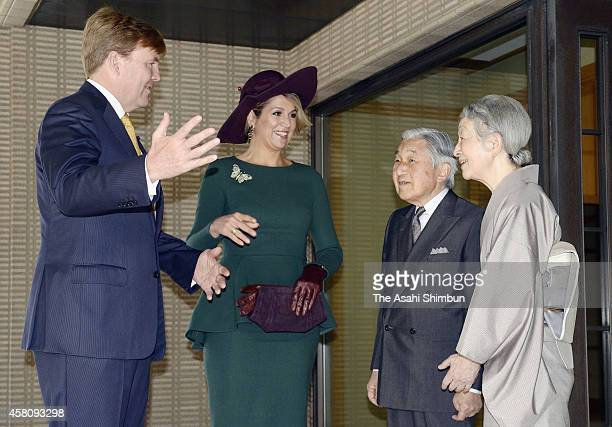 Emperor Akihito and Empress Michiko welcome King WillemAlexander and Queen Maxima of the Netherlands for a luncheon at the Imperial Palace on October...