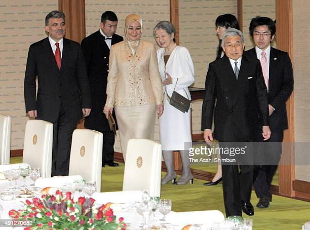 Emperor Akihito and Empress Michiko welcome Turkish President Abdullah Gul and his wife Hayrunnisa Gul prior to the luncheon at the Imperial Palace...