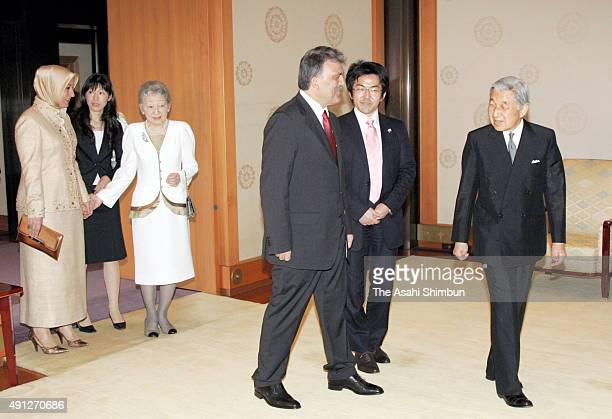 Emperor Akihito and Empress Michiko welcome Turkish President Abdullah Gul and his wife Hayrunnisa Gul prior to their meeting at the Imperial Palace...