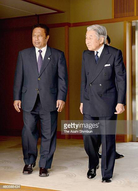 Emperor Akihito and Palau President Tommy Remengesau are seen prior to their meeting at the Imperial Palace on December 17 2014 in Tokyo Japan...
