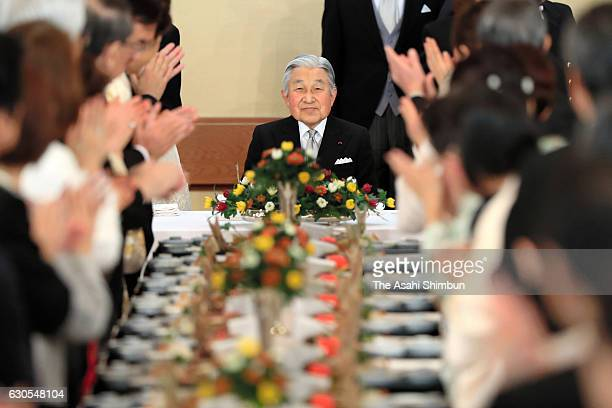 Emperor Akihito attends a banquet to celebrate his 83rd birthday at the Imperial Palace on December 23 2016 in Tokyo Japan
