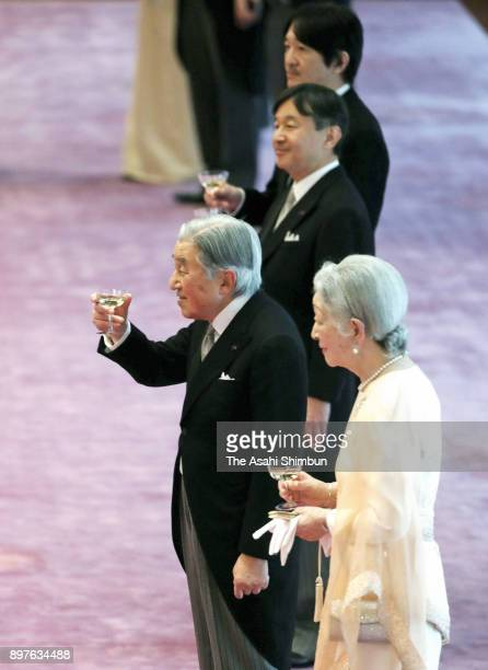 Emperor Akihito attends a tea party to celebrate his 84th birthday with Empress Michiko at the Imperial Palace on December 23 2017 in Tokyo Japan