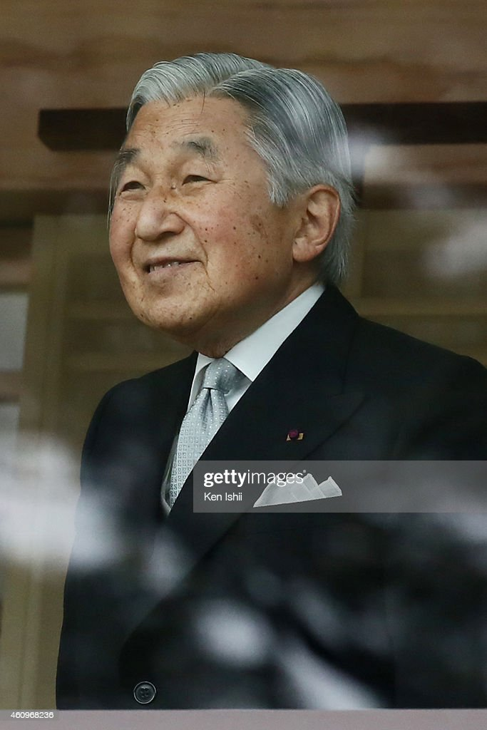 Emperor Akihito attends the celebration for the New Year on the veranda of the Imperial Palace on January 2, 2015 in Tokyo, Japan.