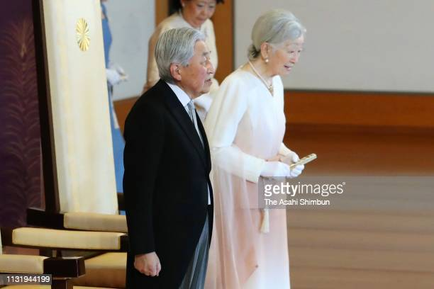 Emperor Akihito attends the ceremony marking the 30th anniversary of the enthronement with Empress Michiko at the Imperial Palace on February 24,...