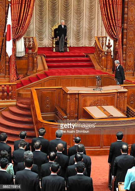 Emperor Akihito attends the House of Councillors plenary session as the 191st Diet session begins at the diet building on August 1 2016 in Tokyo Japan