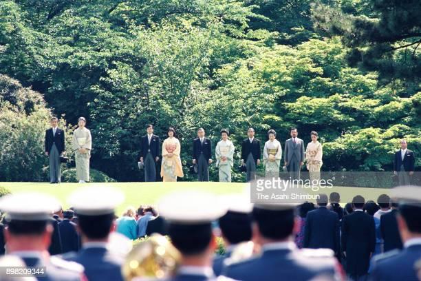 Emperor Akihito, Empess Michiko, Crown Prince Naruhito, Princess Sayako, Prince Hitachi, Princess Hanako of Hitachi, Prince Mikasa, Princess Yuriko...
